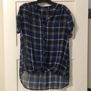 Express Sheer Plaid Button-Up Blouse